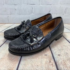 NUNN BUSH Mens Black Leather Tassel Loafers Shoes